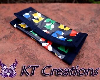 Reusable Sandwich Lunch Snack Bag Unique Camping Picnic Laminated Cotton Placemat Blue Fox Handmade