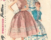 Simplicity 1197 1950s Sundress with Full Skirt and Short Jacket Vintage Sewing Pattern Sizes 12 or 14 Rockabilly
