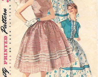 Simplicity 1197 1950s Sundress with Full Skirt and Short Jacket Vintage Sewing Pattern Sizes 12 Rockabilly