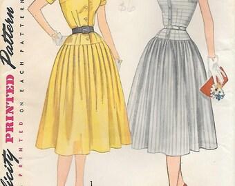 Simplicity 3844 UNCUT 1950 Drop Waist Soft Pleat Summer Dress Vintage Sewing Pattern Size 14 Bust 32