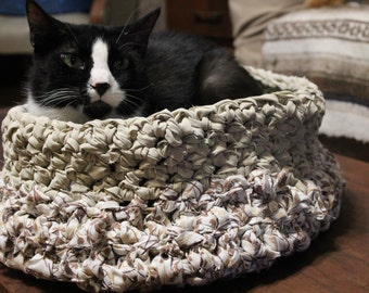 "The ""Top Cat,"" Large Cat Bed, Small Dog Bed, Brown Floral Hand Crocheted From Upcycled Bed Sheets"