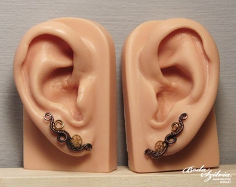 copper and brass STEAMPUNK EAR PINS - wire wrapped ear pin, steampunk earrings, ear crawler, steampunk jewelry, clip on earrings, ear sweep