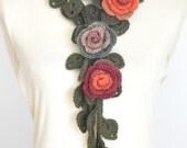 FIVE - Fall - Orange - Crochet Rose and Leaf Lariat/Scarf