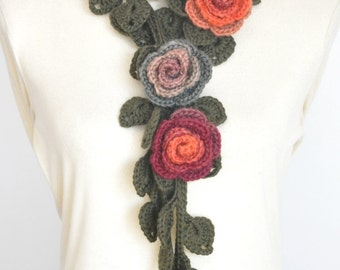 FIVE - Fall - Orange - Crochet Rose and Leaf Lariat/Scarf