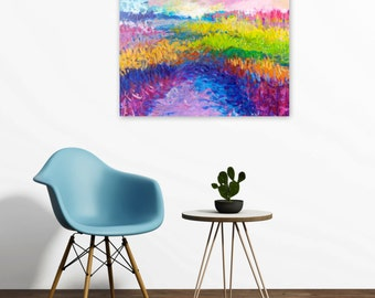 SALE Abstract Landscape Painting, Rainbow Colors, Original Acrylic 18x24 Canvas, Modern Home Decor, Contemporary Wall Art, Jessica Torrant