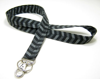 Fabric Lanyard, ID Badge Lanyard, Optional Breakaway Lanyard, Black Grey Lanyard, Key Lanyard,  Neck Lanyard, Cotton Lanyard, Teacher Gift