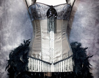 STORM Grey Burlesque Striped Corset Black Steampunk Dress, Feather train XXL 2XL