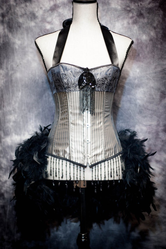STORM Burlesque Outfit Silver Black Striped Corset Steampunk Dress with Feather Bustle and sequins