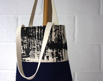 "Blue bag story"" hand felted and screen printed canvas unique tote bag by XOproject"