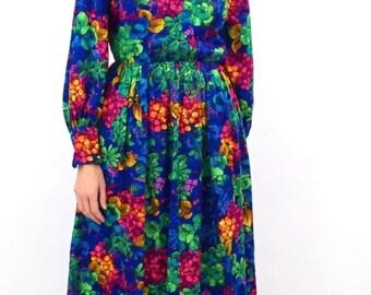 vintage 70s BOHO festival FLORAL long sleeve MAXI dress M