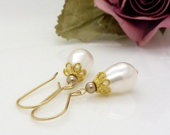 Ivory pearl teardrop earrings in 14kt gold fill, with champagne beige brown pearls, Ivory pearl swarovski wedding jewelry