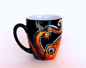 Octopus Mug Black Ceramic Orange Purple Cephalopod Tentacles Painted Sea Creature Nautical Beach Coffee Cup - MADE TO ORDER