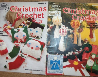 vintage 70s CHRISTMAS crochet patterns volume 3 ornaments pillows socks tote angel