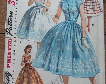 vintage 1956 simplicity pattern 1583 misses dress special occasion evening sz 16 b34