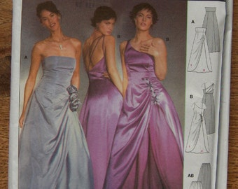 Burda pattern 8321 misses evening gown dress bodice and back variations sz 6-18 uncut special occasion