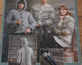 vintage 70s Bulky Knits by leisure arts men women pullover cardigan boot toppers hooded jacket