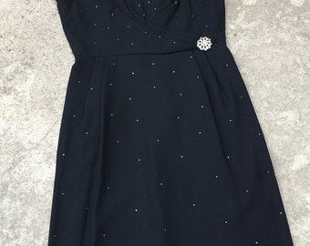 1960s Vintage Dress - Black Wiggle Dress Studded with Rhinestones - 1960's Party Dress - Sexy Bombshell Pinup - Cocktail Dress - 38 Bust