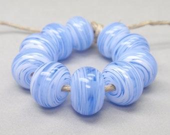 White Swirls  - 10 Handmade Lampwork Beads SW 184