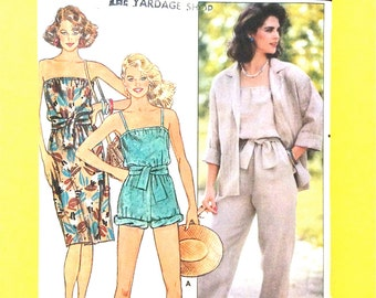 Butterick 6553 Misses' Jacket, Dress, And Jumpsuit Vintage Sewing Pattern Cut to Size 8