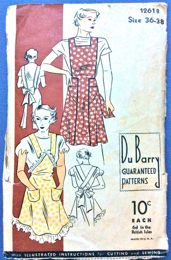 Old Fashioned Aprons & Patterns 1930s DuBarry 1261B Apron Pattern Vintage Sewing Pattern 30s apron 1930 apron   Bust 36 to 38 inches $28.00 AT vintagedancer.com