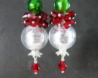 Christmas Earrings, Silver Red Green Murano Earrings, Holiday Earrings, Red Crystal Cluster Earrings Holiday Party Jewelry Christmas Jewelry