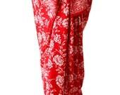 Hawaiian Sarong Skirt Women's Clothing Beach Sarong Wrap Skirt or Dress Red Flowers Swimsuit Coverup Batik Sarong Pareo Wrap Beach Girl Gift