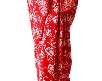 Hawaiian Beach Sarong Skirt Women's Swimwear Sarong Pareo Wrap Skirt or Dress - Red Flowers Swimsuit Coverup Batik Sarong - Summer Sarong