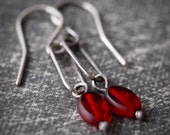 Small modern sterling silver oval and ruby red Czech glass bead earrings