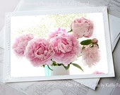 Pink Peony Photo Notecard, Shabby Chic Peonies Note Card, Peony Greeting Cards, Peony Notecards, Pink Peonies Stationary Floral Note Cards