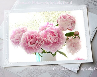 Pink Peony Photo Note card, Shabby Chic Peonies Note Card, Peony Greeting Cards, Peony Note Cards, Pink Peonies Stationery Floral Note Cards