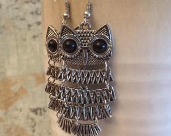 Statement Earrings, Owl Earrings, Antiqued Silver Hinged Dancing Owl Earrings