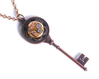 Steampunk Vintage Rose Gold Watch n Copper Key Necklace