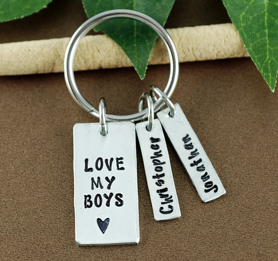 Love My Boys Keychain | Personalized Love my Kids Keychain | Father's Day Keychain | Daddy Keychains | Personalized Gifts for Mom