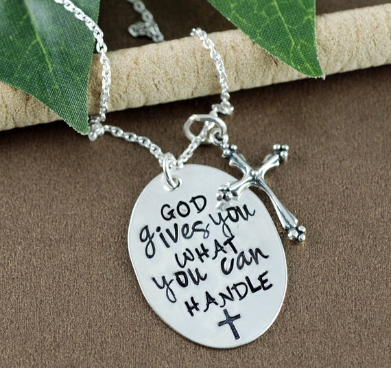 Personalized Inspirational Necklace, Silver Cross Necklace, God gives you what you can handle, 1 Corinthians 10:13 , Bible Verse Jewelry