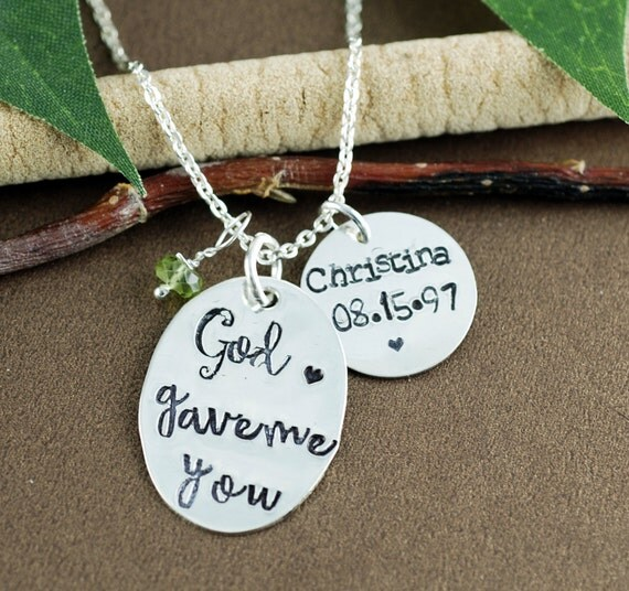 God Gave Me You Necklace, Mothers Necklace, Personalized Mom Necklace, Hand Stamped Mothers Necklace, New Mom Jewelry, New Mom Gift