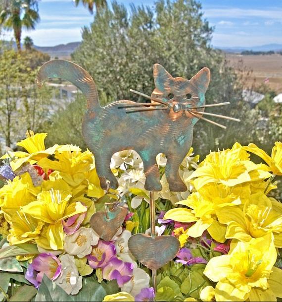 Garden Decor Cats: Cat Decor / Sculpture / Ornament / Metal / Copper / Garden Art