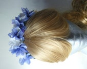 White rose & purple/blue floral crown, hippie flower headband, bridal flower headpiece, flower girl hair accessories