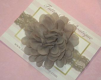 Taupe Flower Headband, Taupe Chiffon Headband, Brown Headband, Baby Headband, Brown Baby Hair Bow, Toddler Headband