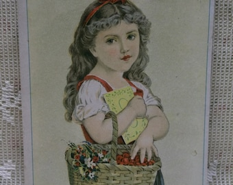 Long Haired Girl with Basket of Cherries-Gast-Blank Victorian Trade Card Scrap