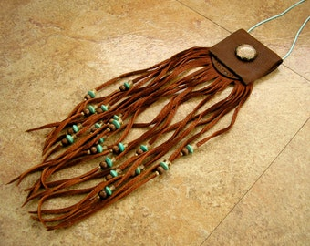 "Cinnamon deerskin leather neck pouch with a glass mandala charm,  7 1/2"" long fringe beaded with trade beads, 32"" blue nylon neck cord"