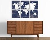 World Map Vintage Wall Art - Large Custom World Map Print on Wood Panels