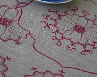 Marrakesh Red on Flax Linen Tea Towel