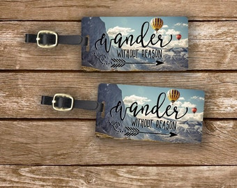 Luggage Tag Set Wander without Reason Hot Air Balloon Metal Luggage Tag Set With Custom Info On Back, 2 Tags Choice of Straps