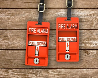 Fire Alarm Personalized Luggage Tags Red Fire Alarm Set Custom Printed Metal Tags - 2 Tags - Firefighter Pull Alarm