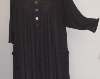 Plus Size Clothing, Coco and Juan,  Lagenlook,  Plus Size Top, Black Denim Knit Trapeze Tunic, Size 1 (fits 1X/2X)  Bust 50 inches