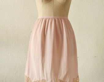 Pink and Ecru Lace Half Slip Skirt Extender
