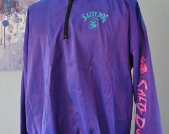Vintage Iridescent Windbreaker Purple Neon 90s 1993 jacket by Venini XL Oversized One Size