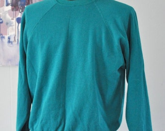 Soft Thin Vintage Sweatshirt Teal Aqua Blue Green Plain Classic Blank Sweats Gym Casual Simple