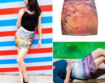 Aerial Skirt Set ~ FREE SHIPPING in the US ~ 3 Bodycon Skirts ~ Aerial Photography Print ~ Miniskirts ~ Clothing Set