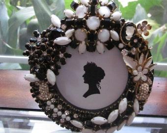 Vintage Rhinestone Jewelry Picture Frame Black White Milk Glass